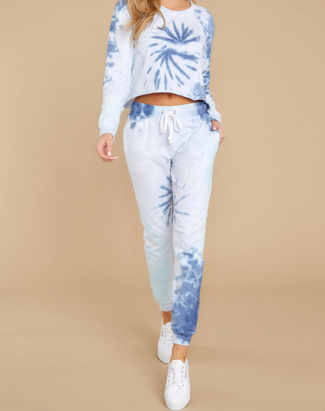 Wholesale Dreaming In Color Blue Multi Tie Dye Joggers N1591 - WinkGalB2B