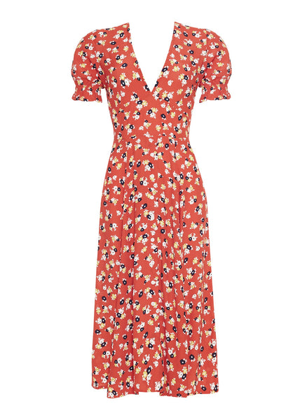 Wholesale JASMINE FLORAL PRINT - RED - ARI MIDI DRESS N544 - WinkGalB2B