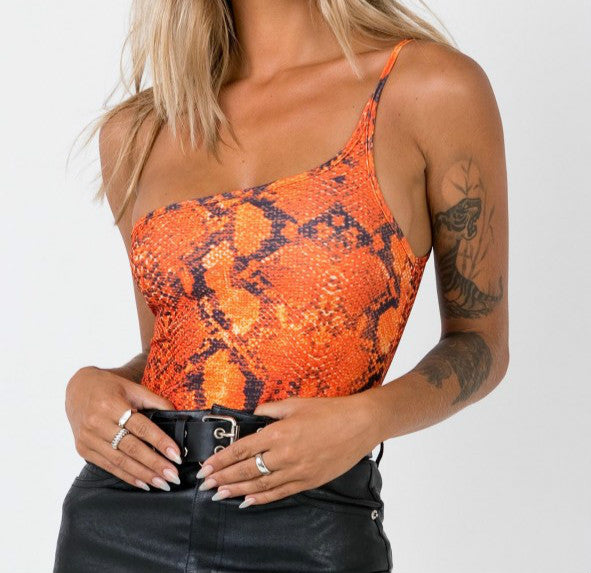 Wholesale THE VIPER BODYSUIT // SNACK PRINT ORANGE N753 - WinkGalB2B