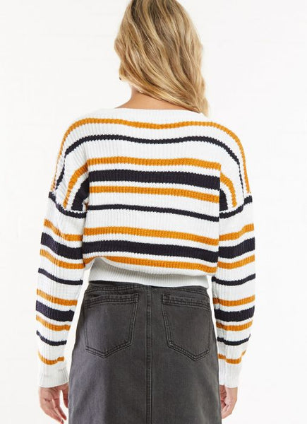 Wholesale Cannes Cropped Sweater - Multi Stripe N539 - WinkGalB2B