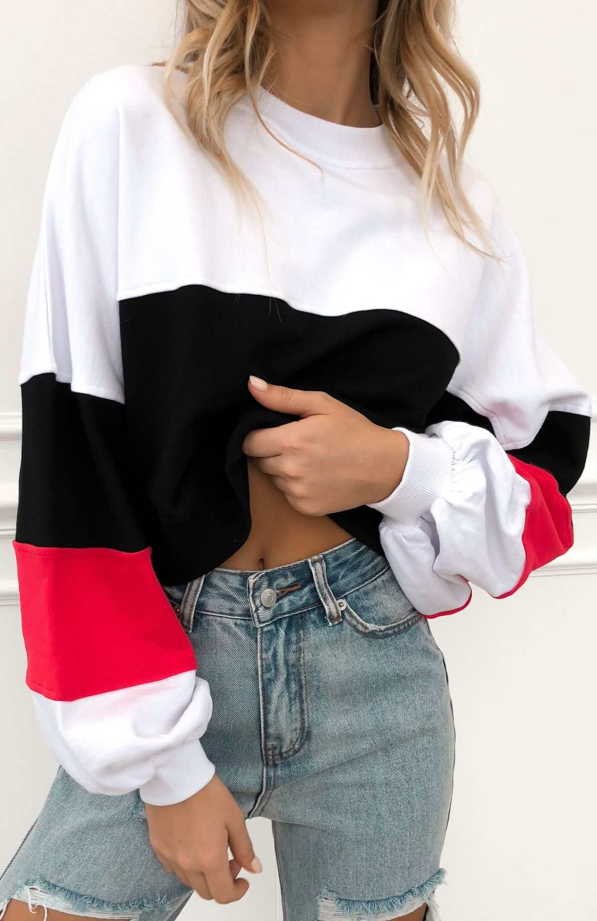 Wholesale Money Moves Sweater White/Red N970 - WinkGalB2B