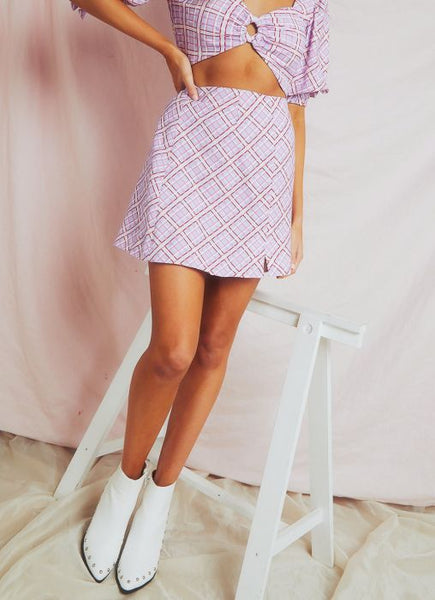Wholesale Nostalgia Skirt - Lilac Check N1164 - WinkGalB2B