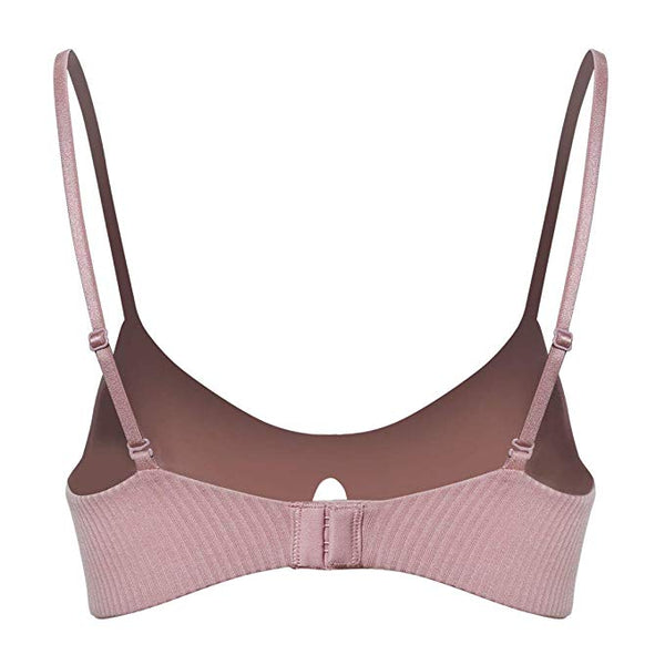 Wholesale Cotton Wireless V Neck Bralette Pink W12544 - WinkGalB2B