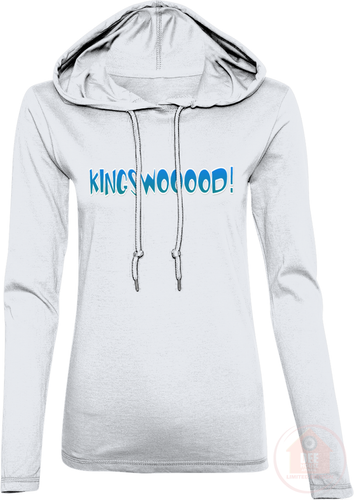 KINGSWOOOOD! White x Blue Women's Long Sleeve Hooded T-Shirt