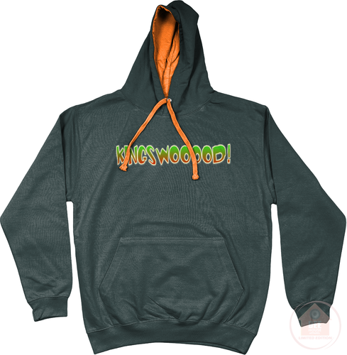 KINGSWOOOOD! Charcoal x Orange x Green Men's Hoodie