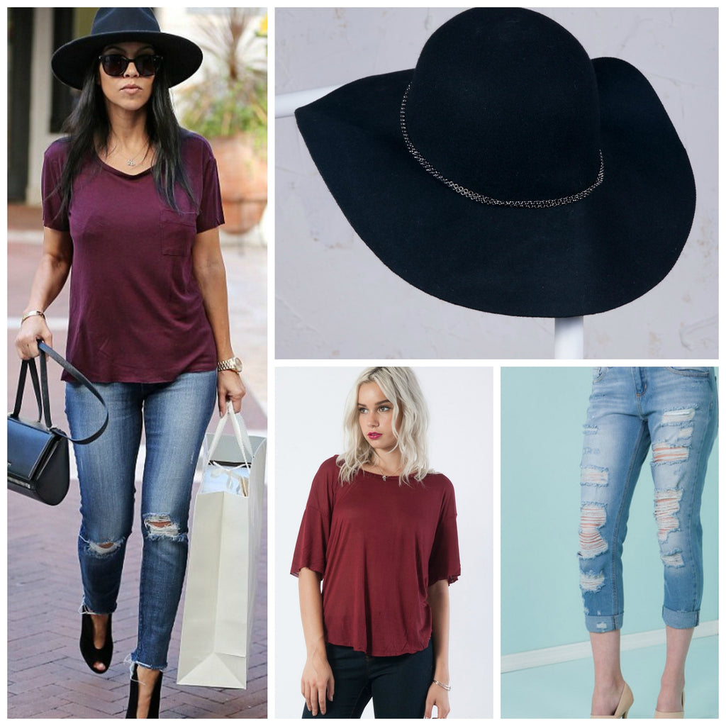 Kourtney Kardashian - LaPerla Lingerie Shopping Outfit: Ripped Jeans, Maroon top