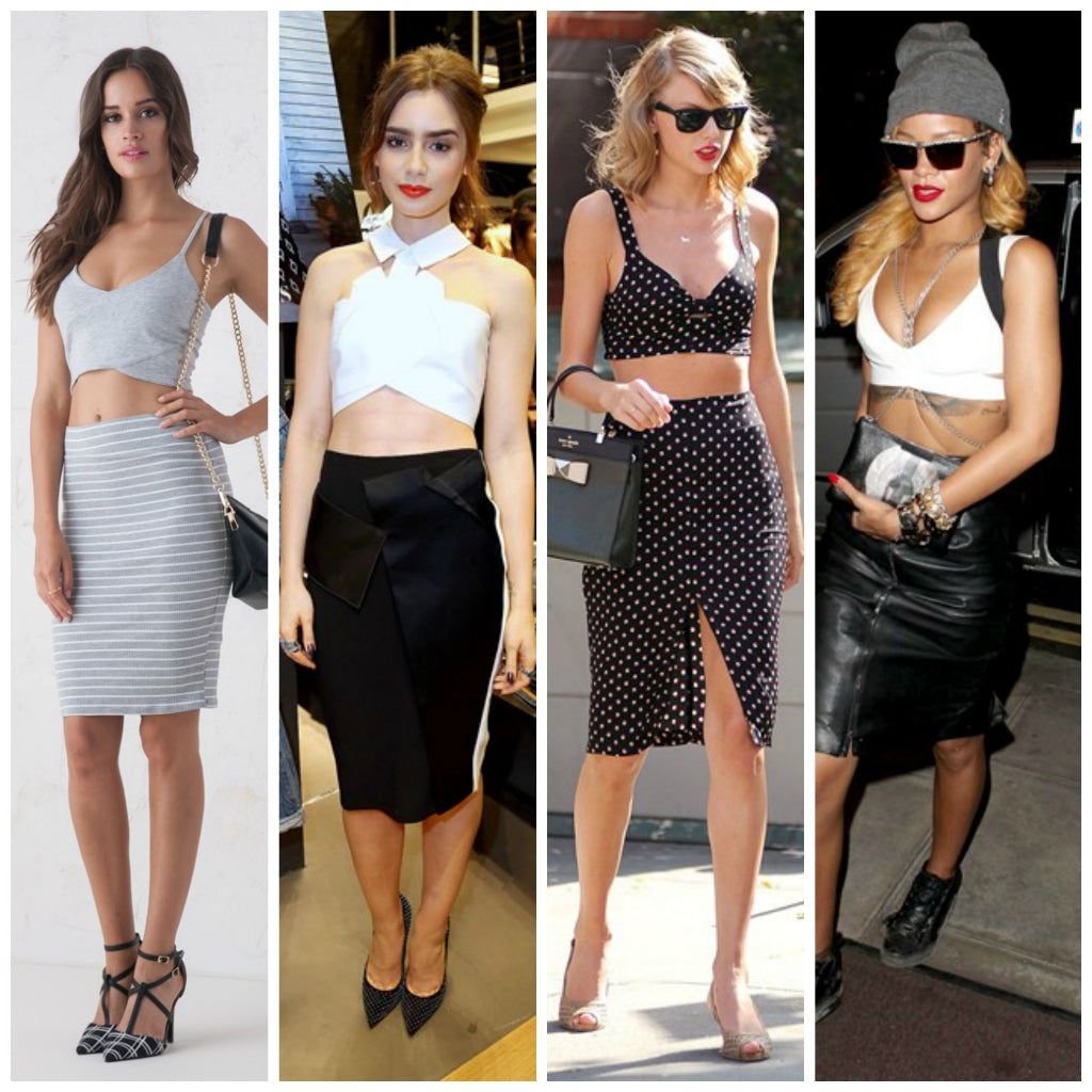 Fashion week Waisted high pencil skirt and crop top for girls