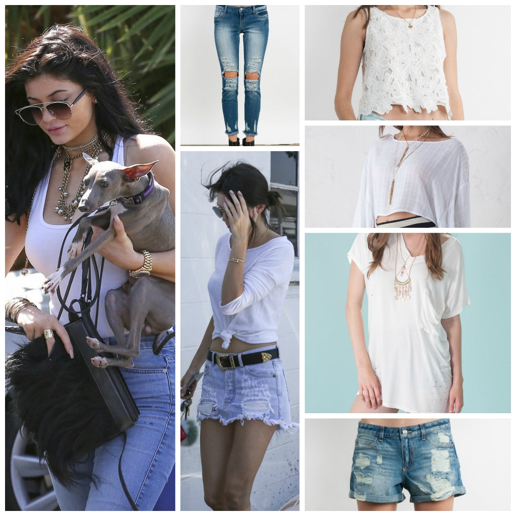 Kendall Kylie 39 S Style On Classic White Tee Jeans The Snooki Shop
