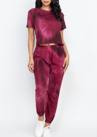 Burgundy Tie Dye Lounge Set