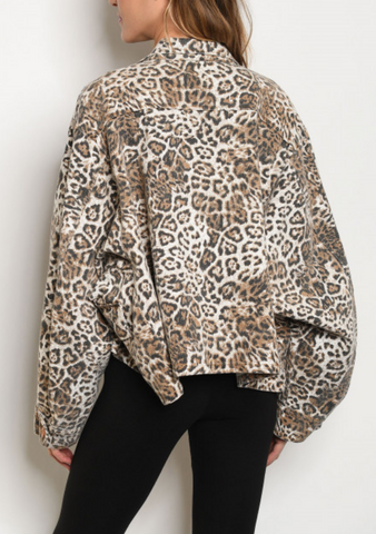 Leopard Jean Cropped Jacket