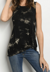 Black Tie Dye Knot Top