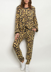 Yellow Leopard Lounge Top