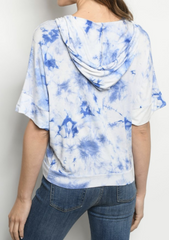Navy White Tie Dye Sweatshirt