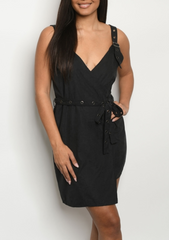 Black Belted  Buckle Dress