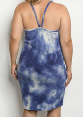 Navy Tie Dye Tank Dress
