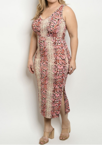 Blush Snakeprint Dress