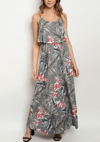 Charcoal Rose Ruffle Maxi
