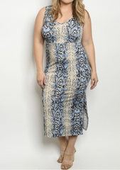 Blue Snakeprint Dress