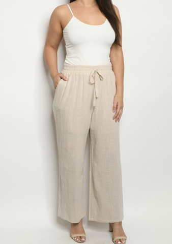 Beige Hemp Pants