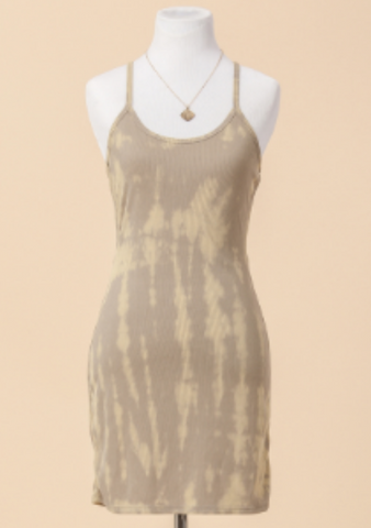 Beige Tie Dye Tank Dress