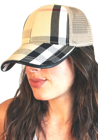 Beige Plaid Cap