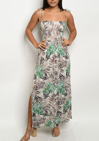 Beige Tropical Leaf Maxi