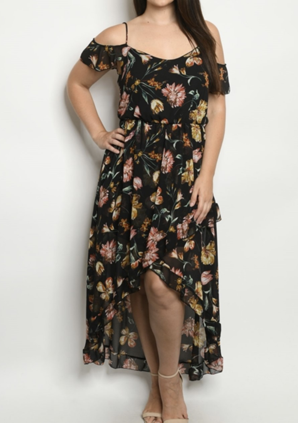 Black Curve Floral Dress