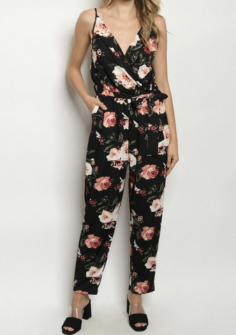Black Floral V-Neck Jumpsuit
