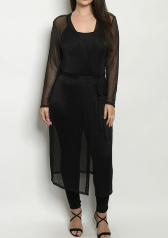 Black Sheer Curve Duster
