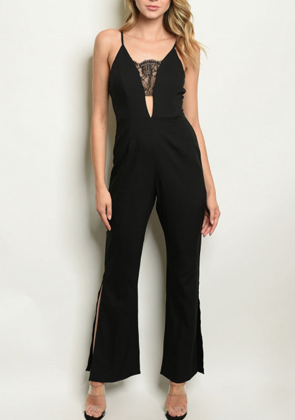 Black Lace Detailed Jumpsuit