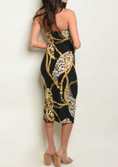 Black Leopard Chain Tube Dress