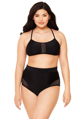 Black Mesh Insert High-Waisted Bikini Bottom