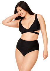 Black Ruched High-Waisted Bikini Bottom