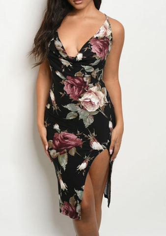 Black Rose Slit Dress