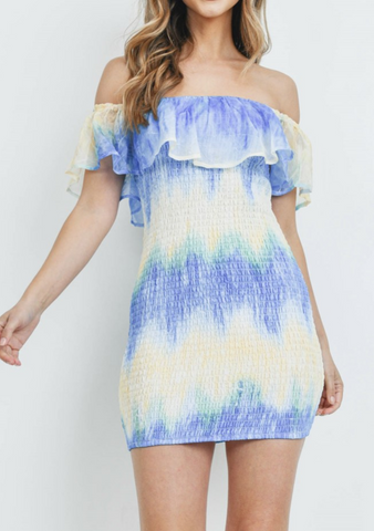 Blue Tie Dye Ruffle Dress