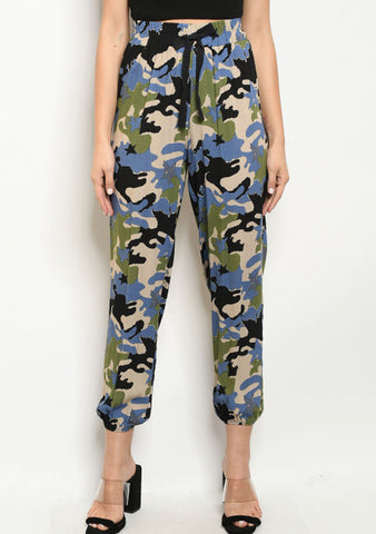 Blue Green Camo Jogger Pants