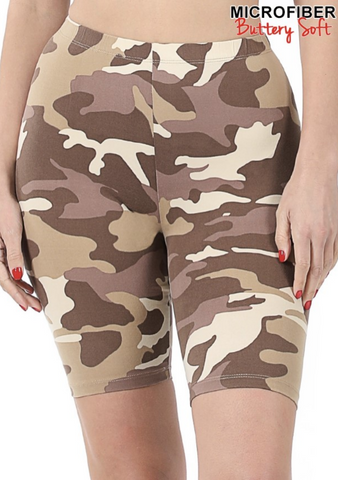 Brown Camo Biker Shorts