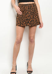 Brown Leopard Print Skirt