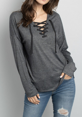 Charcoal Lace Up Sweater
