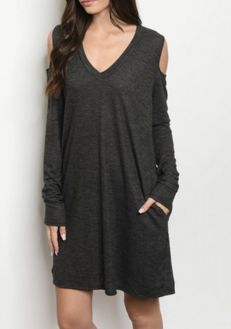 Charcoal Open Shoulder Dress