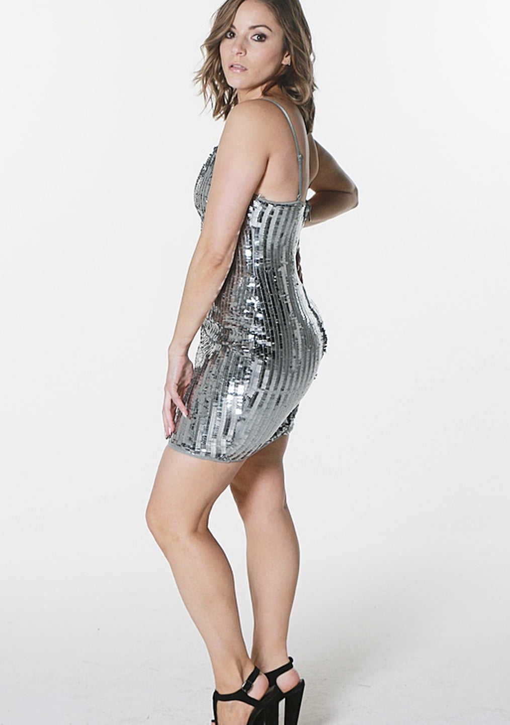 Charcoal Sequin Mini Dress
