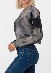 Charcoal Tie Dye Crop Sweatshirt