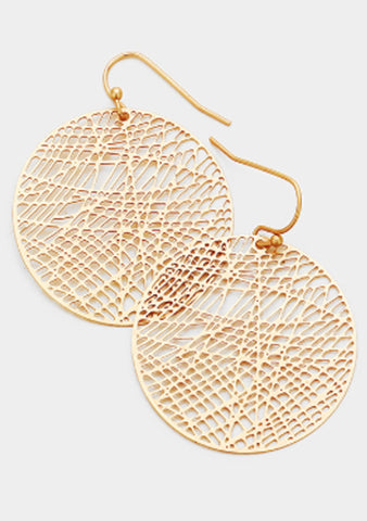 Circle Disc Dangle Hoop Earrings
