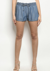 Denim Drawstring Shorts