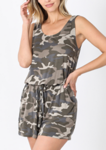 Dusty Camo Basic Tie Romper