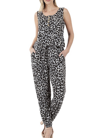Gray Leopard Jumpsuit
