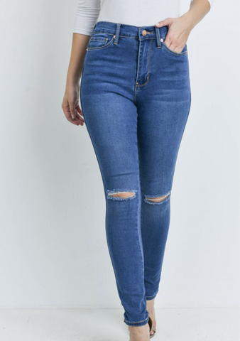High Waist Knee Cut Jeans