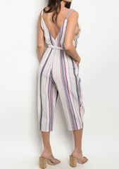Ivory Striped Capri Jumpsuit