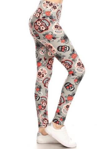 Gray Skull Leggings