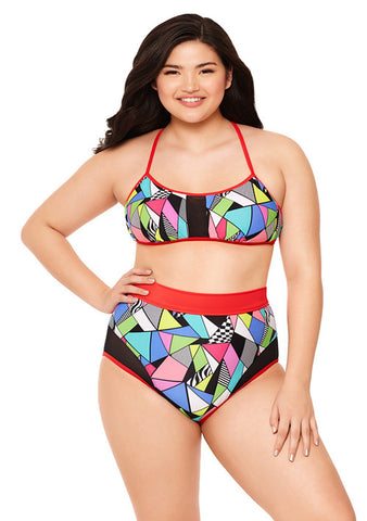 Jem Star Mesh Insert High-Waisted Bikini Bottom